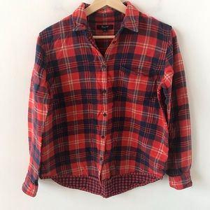 Madewell double layer plaid button down